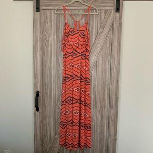 Aztec Print Coral Maxi Dress